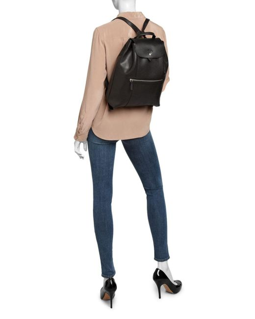 Longchamp Leather Veau Foulonne Backpack in Black,Silver Tone ...