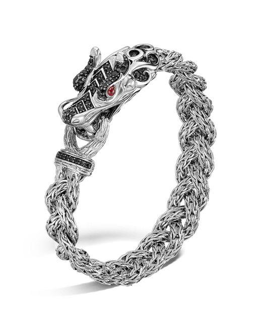 John Hardy | Metallic Sterling Silver Naga Small Braided Chain Dragon Head Bracelet With Black Sapphire And Ruby Eyes | Lyst