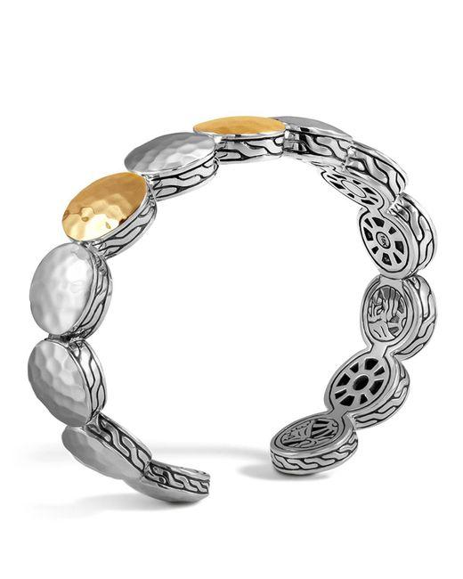John Hardy   Metallic Sterling Silver And 18k Bonded Gold Palu Three Station Flex Cuff   Lyst