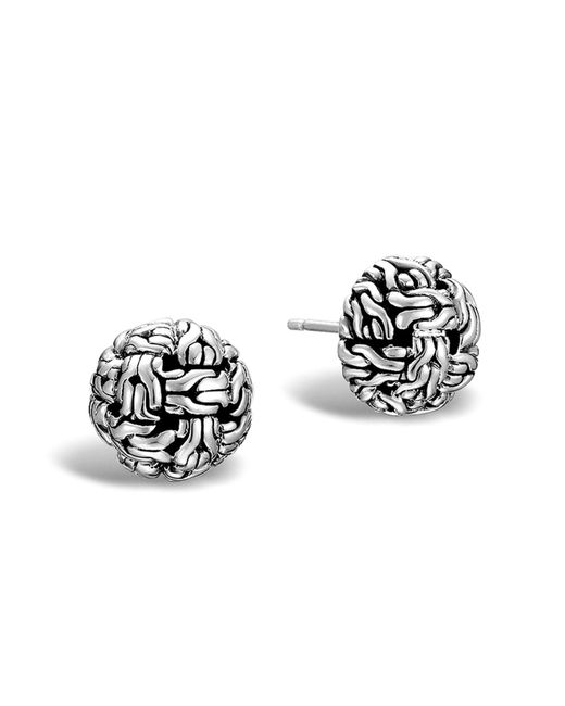 John Hardy | Metallic Classic Chain Silver Knot Stud Earrings | Lyst
