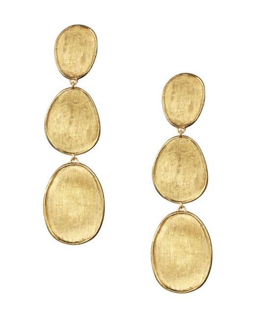 Marco Bicego Metallic 18k Yellow Gold Lunaria Three Tiered Drop Earrings