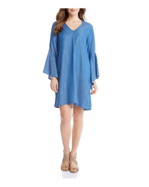 Karen Kane | Blue Chambray V-neck Bell Sleeve Dress | Lyst