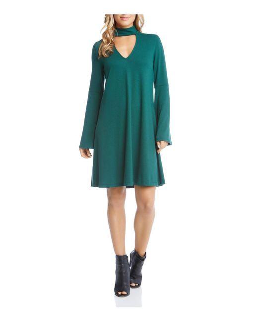 Karen Kane - Green Taylor Choker Neck Bell Sleeve Dress - Lyst