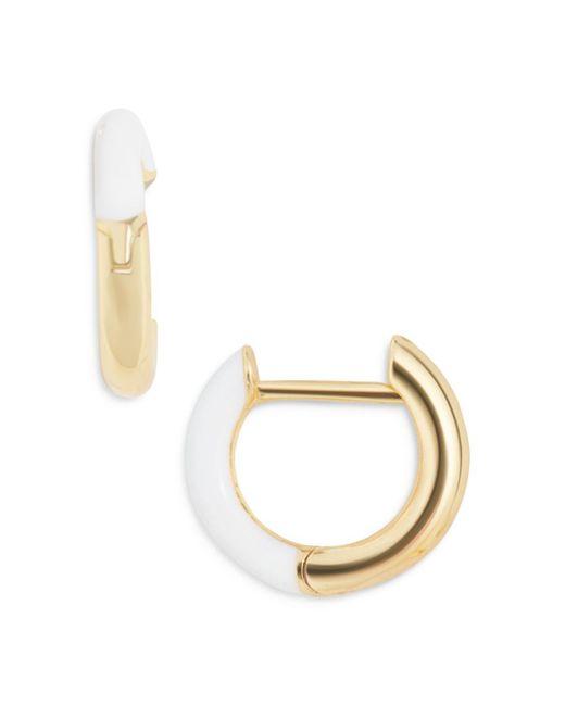 BaubleBar White Sage Color Blocked Huggie Hoop Earrings In 18k Gold Plated Sterling Silver