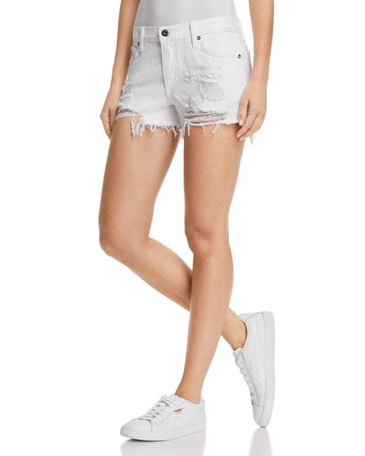 Pistola - Asher Girlfriend Distressed Denim Shorts In White Lies - Lyst