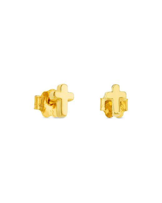 Tous Metallic 18k Yellow Gold Cross Stud Earrings