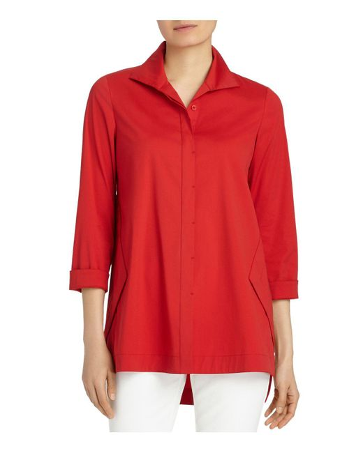 Lafayette 148 New York | Red Marla Button Down Blouse | Lyst