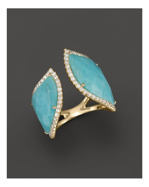 Meira T | Blue 14k Yellow Gold Amazonite Double Open Curve Ring | Lyst