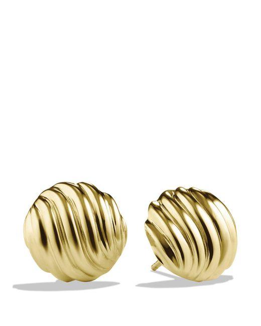David Yurman Metallic 18k Yellow Gold Cable Stud Earrings
