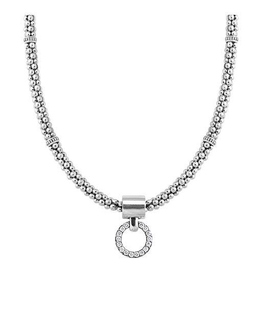 Lagos | Metallic Enso Diamond Pendant Necklace On 4mm Rope Chain In Sterling Silver, 16"