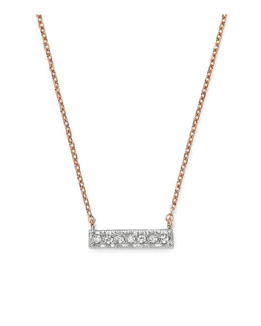Dana Rebecca | 14k White & Rose Gold Sylvie Rose Mini Bar Necklace With Diamonds | Lyst