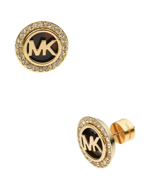 Michael Kors | Metallic Monogram Tortoise-print & Pave Stud Earrings | Lyst