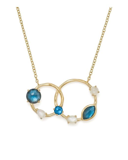 Ippolita - Multicolor Mother-of-pearl Doublet And Blue Topaz Circle Pendant Necklace - Lyst