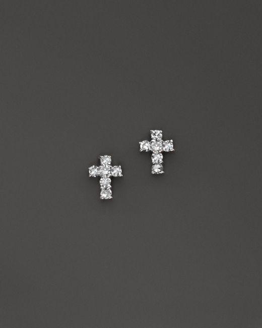 KC Designs - Metallic Diamond Small Cross Stud Earrings In 14k White Gold - Lyst