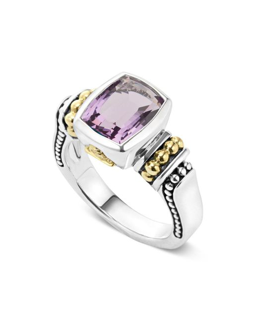 Lagos - Metallic 18k Gold And Sterling Silver Caviar Color Small Amethyst Ring - Lyst