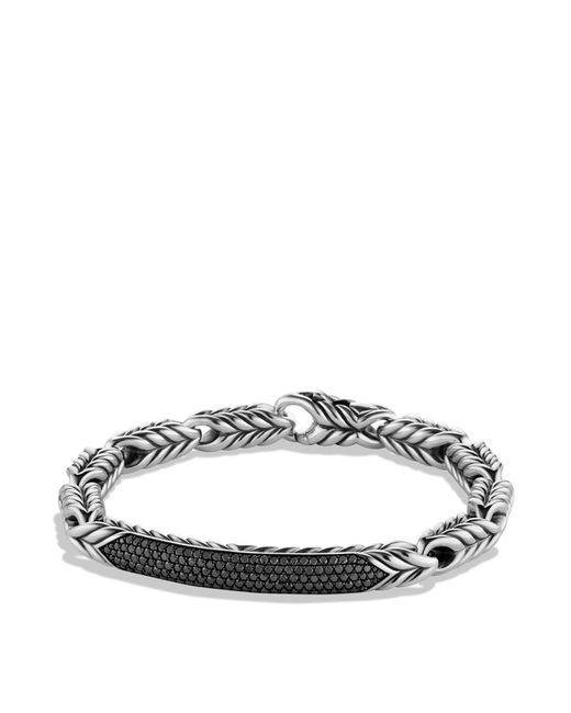 David Yurman - Metallic Chevron Id Bracelet With Black Diamonds for Men - Lyst