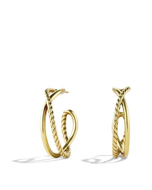 David Yurman | Yellow Crossover Hoop Earrings In Gold | Lyst