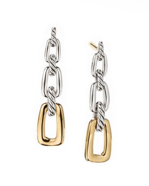 David Yurman Metallic Wellesley Link Drop Earrings In Sterling Silver With 18k Yellow Gold