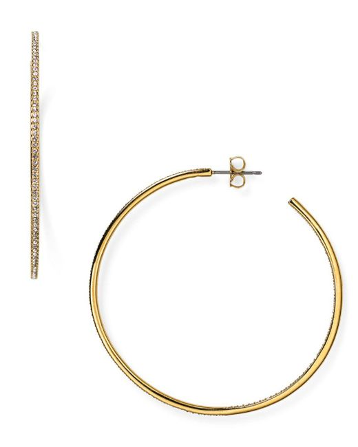 Nadri - Metallic Pavé Hoop Earrings - Lyst