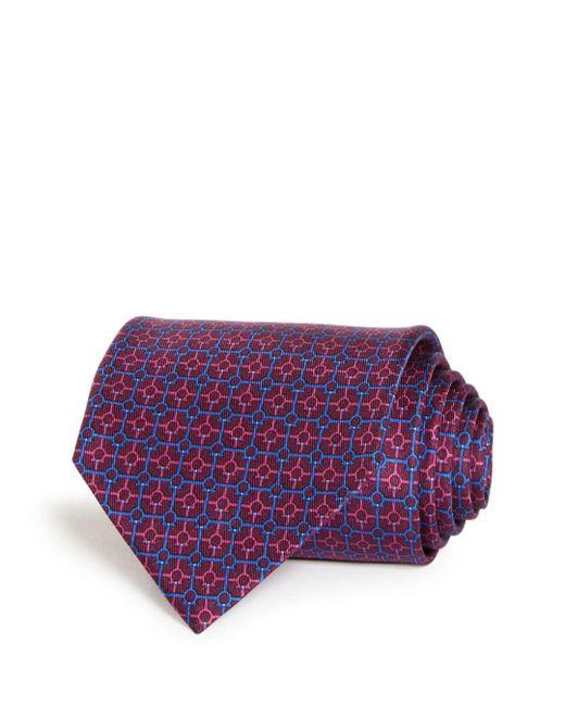 Ferragamo Purple Gancini Print Silk Classic Tie for men
