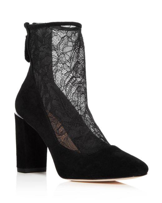 Pour La Victoire - Black Women's Risa Suede & Lace Booties - Lyst