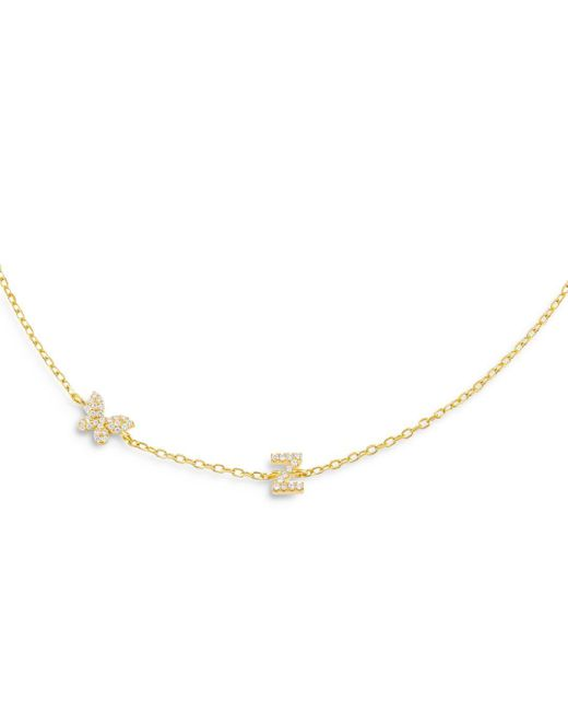 ADINAS JEWELS Metallic Pave Butterfly & Initial Necklace