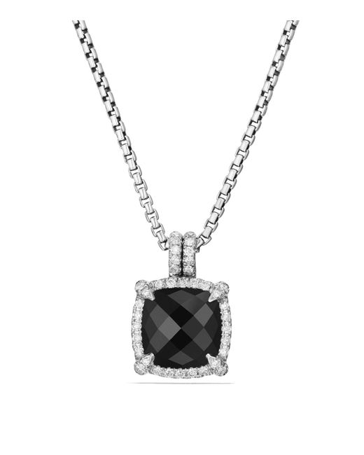 David Yurman | Metallic Châtelaine Pavé Bezel Pendant Necklace With Black Onyx And Diamonds | Lyst