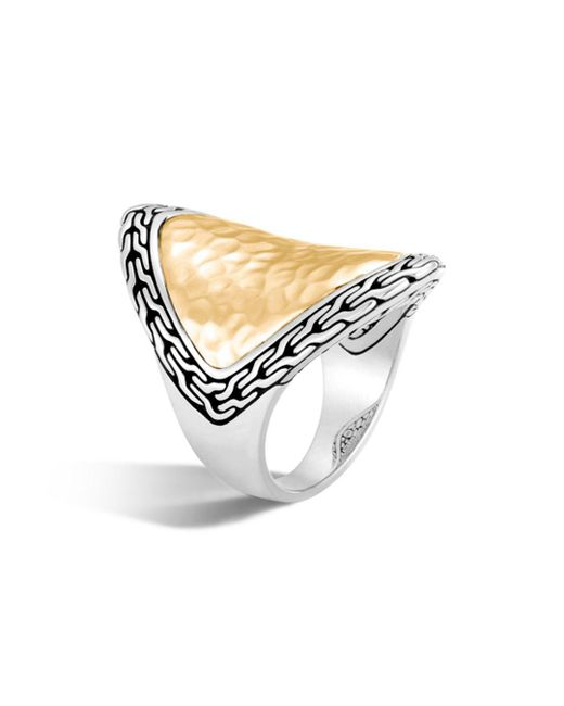 John Hardy - Metallic 18k Yellow Gold And Sterling Silver Classic Chain Saddle Ring - Lyst