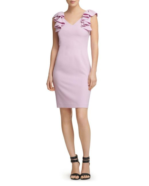 Donna Karan - Purple New York Ruffled Crepe Dress - Lyst