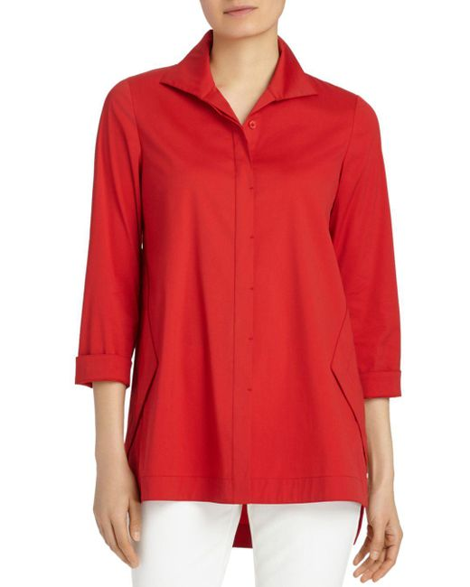 Lafayette 148 New York - Red Marla Button Down Blouse - Lyst