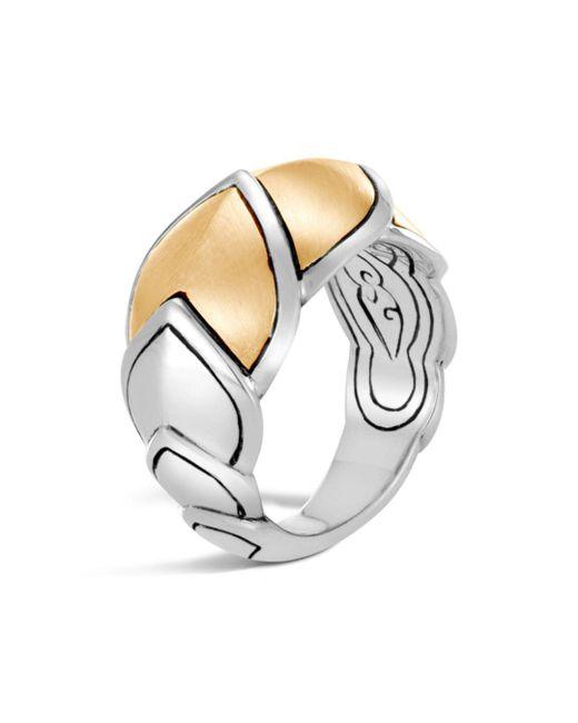John Hardy - Metallic Sterling Silver & 18k Bonded Gold Legends Naga Brushed Medium Ring - Lyst