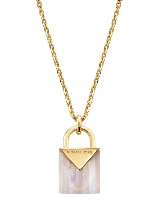 Michael Kors Metallic 14k Gold-plated Sterling Silver Lock Necklace
