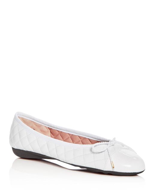 Paul Mayer - White Women's Best Quilted Leather Cap Toe Ballet Flats - Lyst