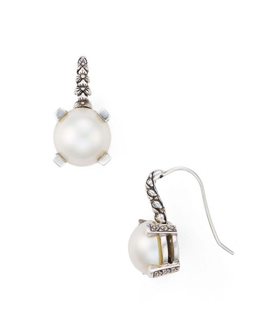 Stephen Dweck | White Natural Freshwater Pearl Engraved Drop Earrings | Lyst