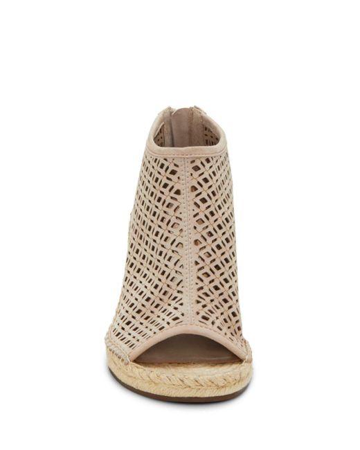 6dc960015ba Gray Women's Lereena Caged Leather Peep Toe Espadrille Wedge Sandals