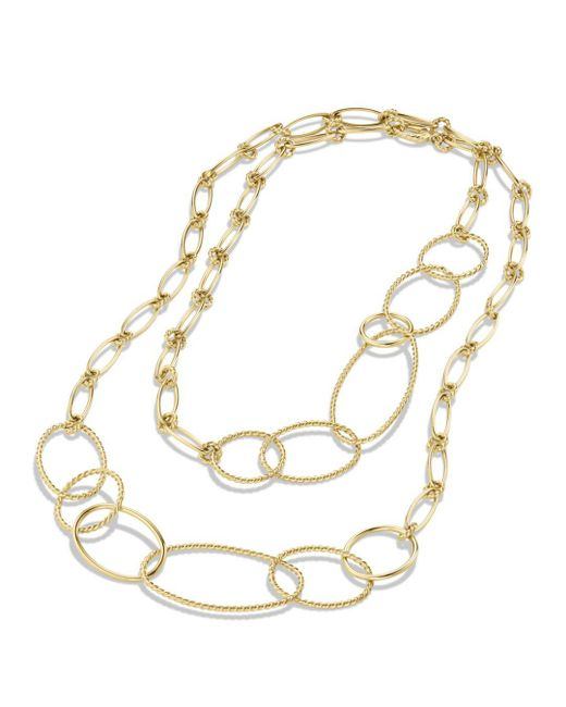 David Yurman Yellow Mobile Link Necklace In Gold