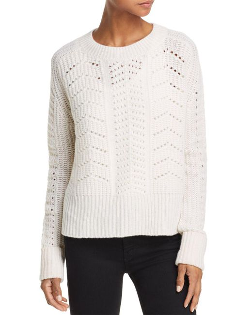 Aqua - White Cashmere Chunky Pointelle Cable Cashmere Sweater - Lyst