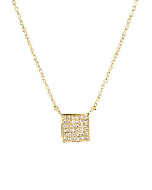 Aqua Metallic Sterling Silver Square Pendant Necklace
