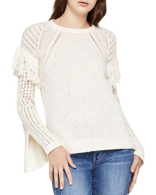 BCBGeneration - White Fringe-trim Slit-sleeve Sweater - Lyst