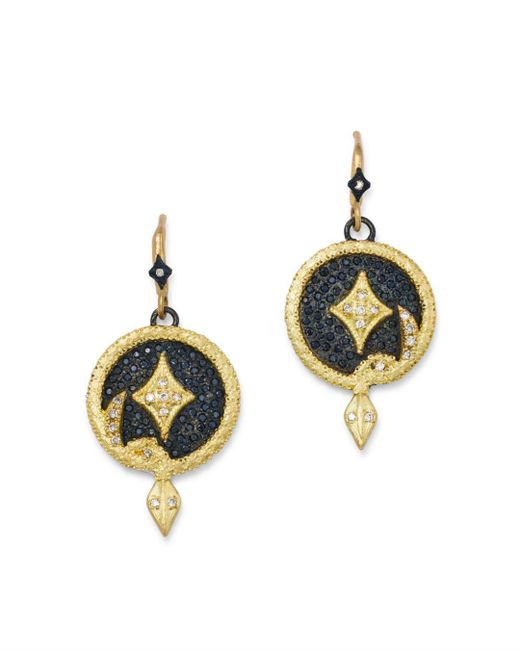 Armenta - Metallic 18k Yellow Gold & Blackened Sterling Silver Old World Champagne Diamond Serpent Disc Drop Earrings - Lyst