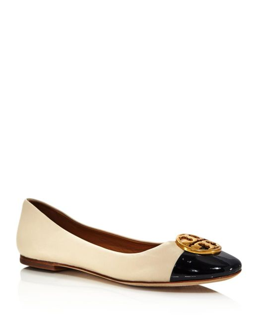 Tory Burch Natural Women's Chelsea Cap Toe Leather Ballet Flats