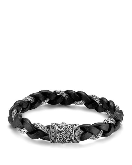 John Hardy | Black Men's Classic Chain Braided Leather Cord Bracelet for Men | Lyst