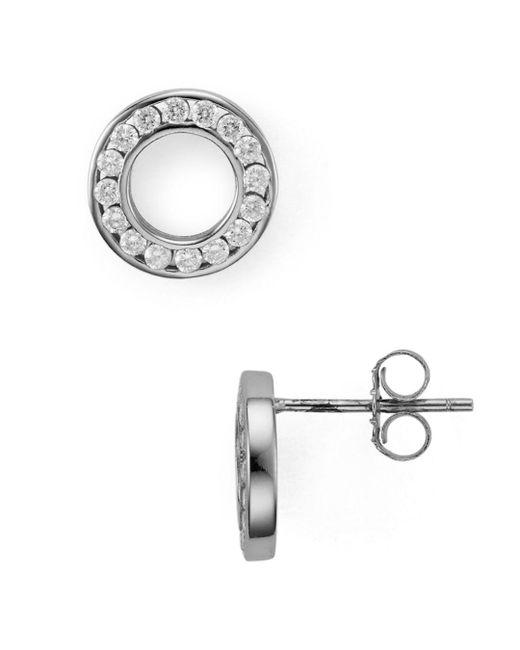 Aqua - Metallic Hollow Circle Stud Earrings - Lyst