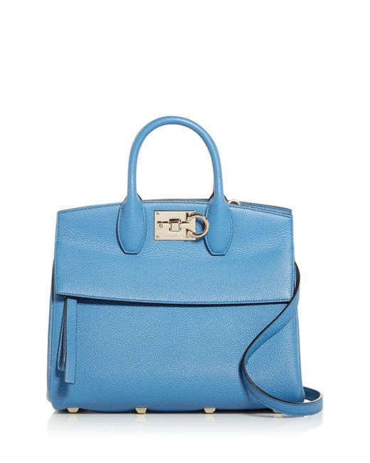Ferragamo Blue Studio Bag Leather Satchel