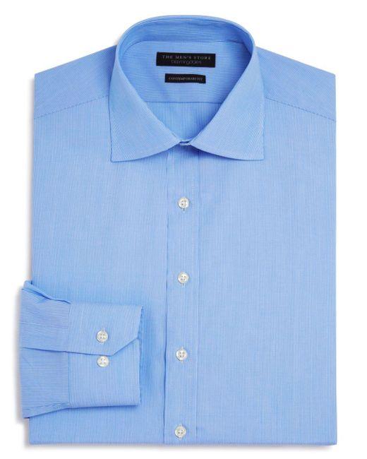Bloomingdale's - Blue Fine Line Stripe Regular Fit Basic Dress Shirt for Men - Lyst