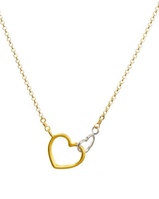 Dogeared - Metallic Linked Heart Necklace - Lyst