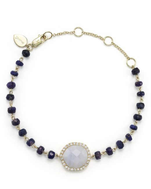 Meira T - Metallic Blue Lace Chalcedony And Sapphire Bead Bracelet With Diamonds - Lyst