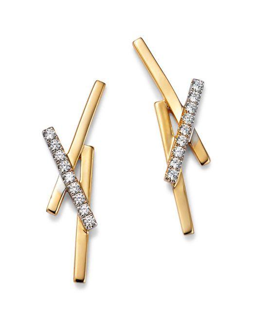 Bloomingdale's Metallic Diamond X Earrings In 14k Yellow Gold