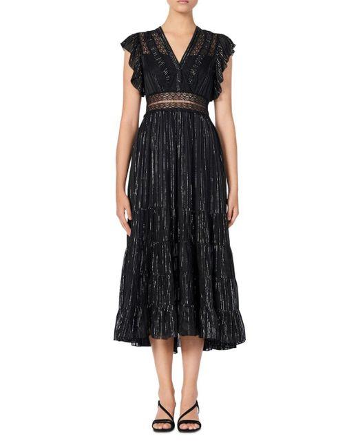 Sandro Black Dona Metallic Stripe & Lace Detail Midi Dress