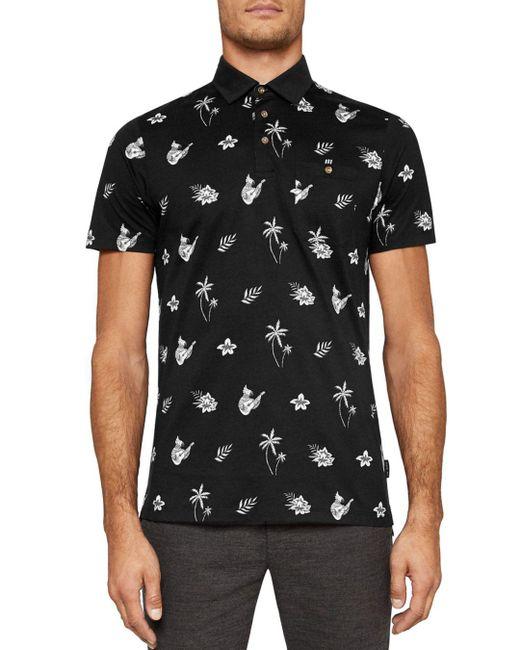 Ted Baker - Black Midge Tropical Print Polo Shirt for Men - Lyst